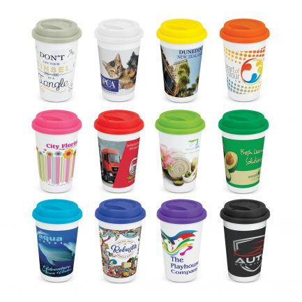 Custom branded 350ml double wall ceramic reusable coffee cup
