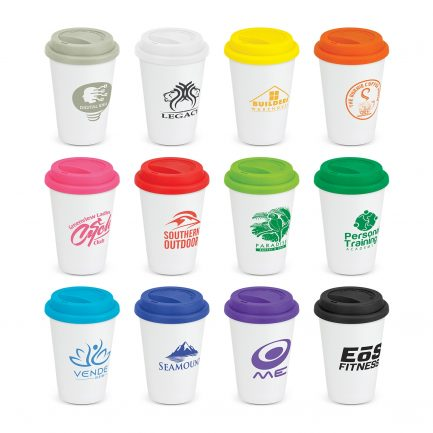 Custom branded robust 300ml double wall ceramic reusable coffee cup